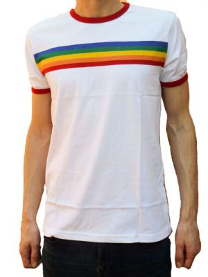 Rainbow Tee - Mens 70's Rainbow T-Shirt - White
